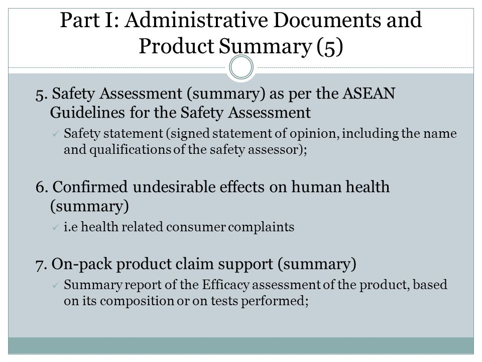 Part I: Administrative Documents and Product Summary (5)