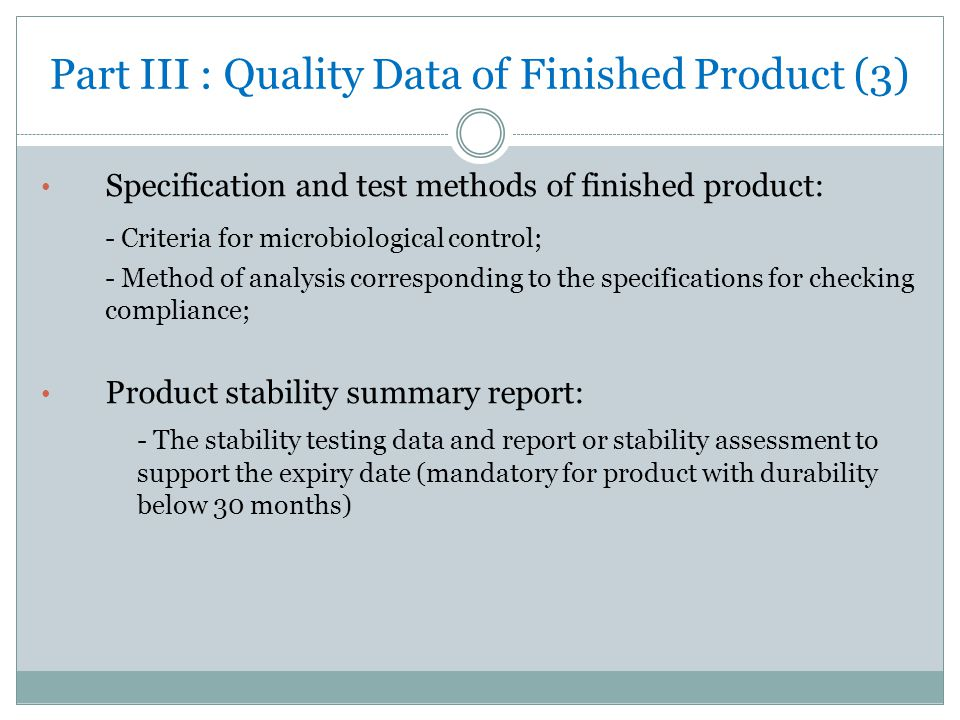 Part III : Quality Data of Finished Product (3)
