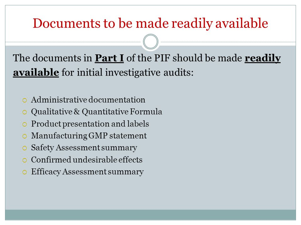Documents to be made readily available