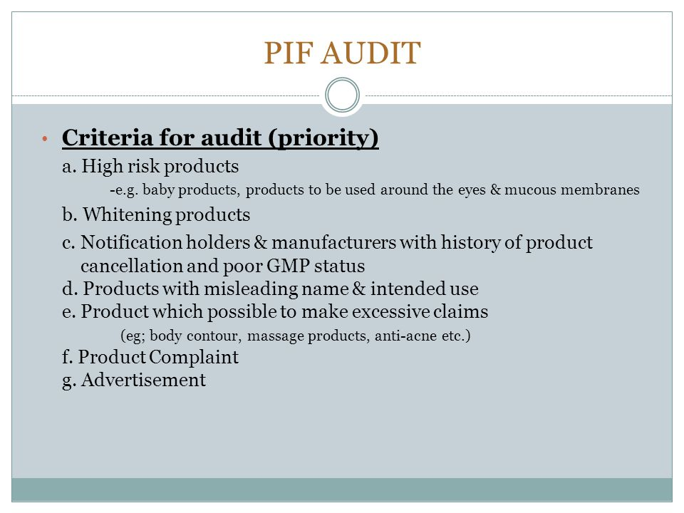 PIF AUDIT Criteria for audit (priority) a. High risk products