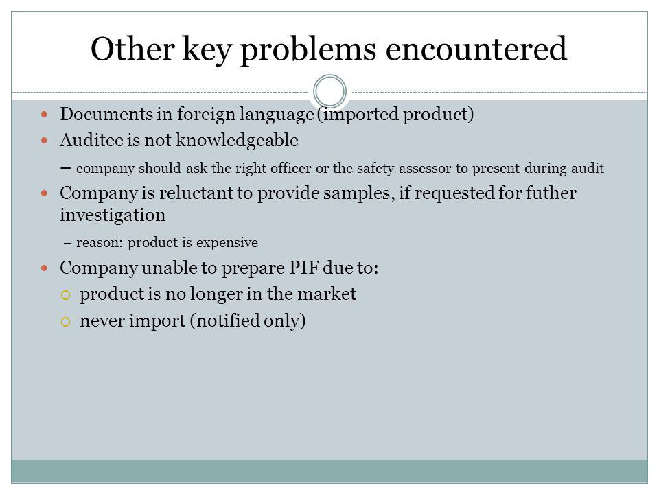 Other key problems encountered