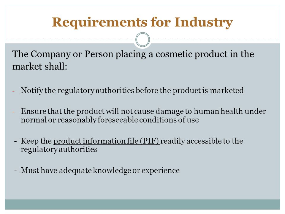 Requirements for Industry