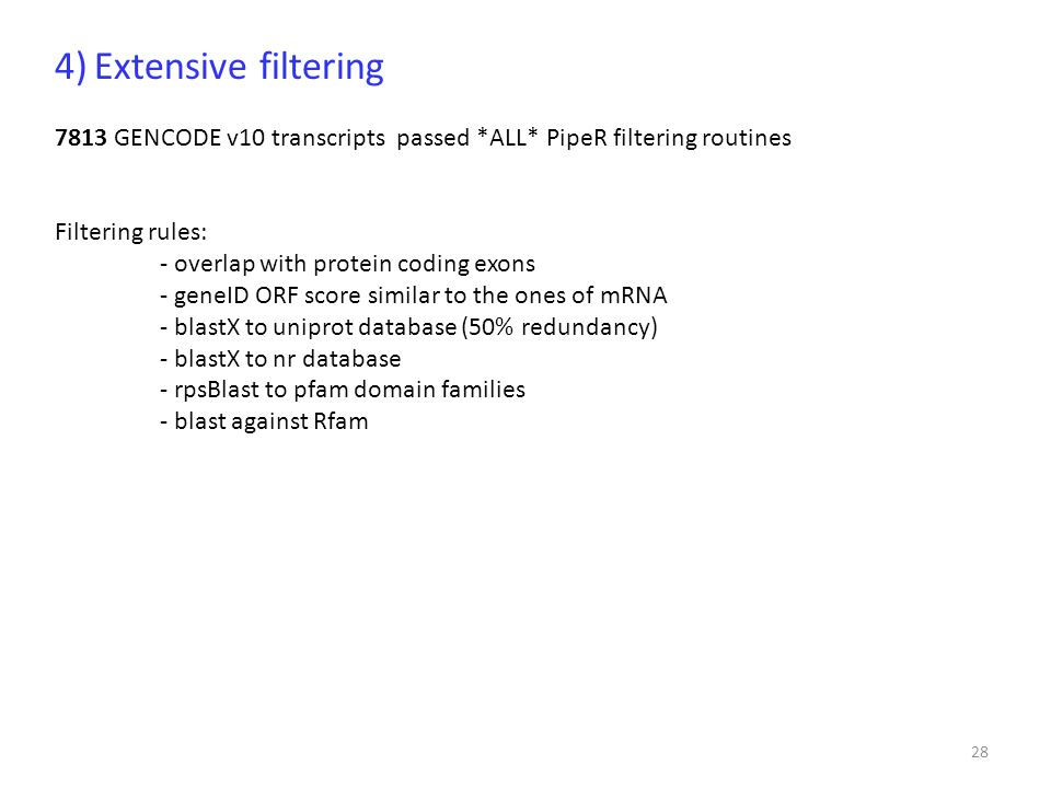 4) Extensive filtering 7813 GENCODE v10 transcripts passed *ALL* PipeR filtering routines. Filtering rules: