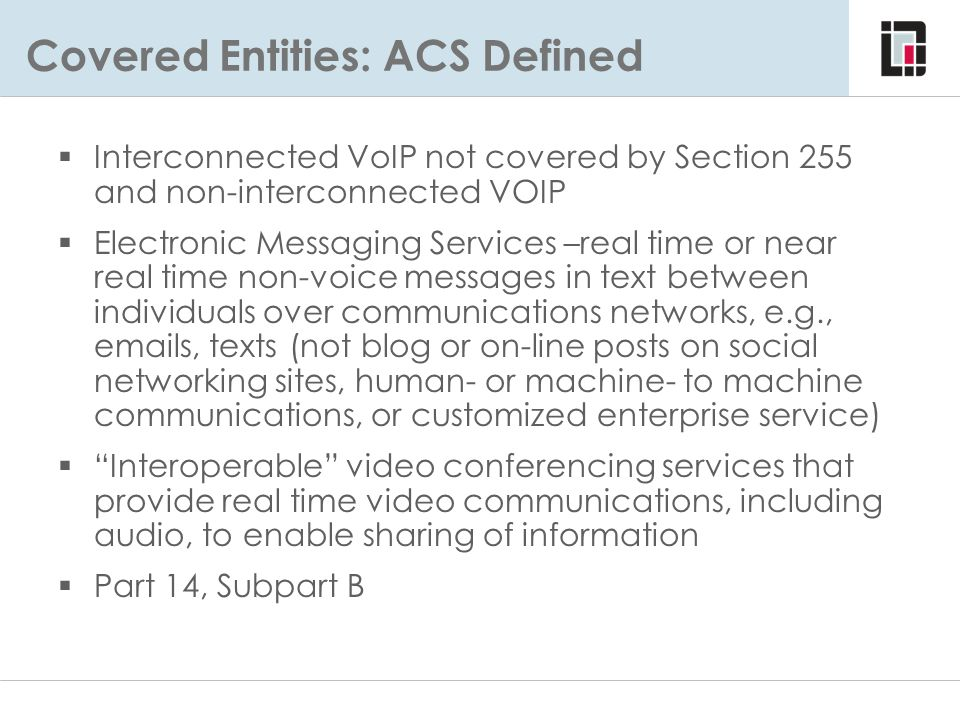 Covered Entities: ACS Defined