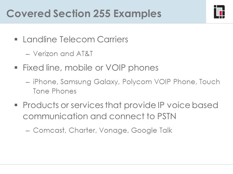 Covered Section 255 Examples