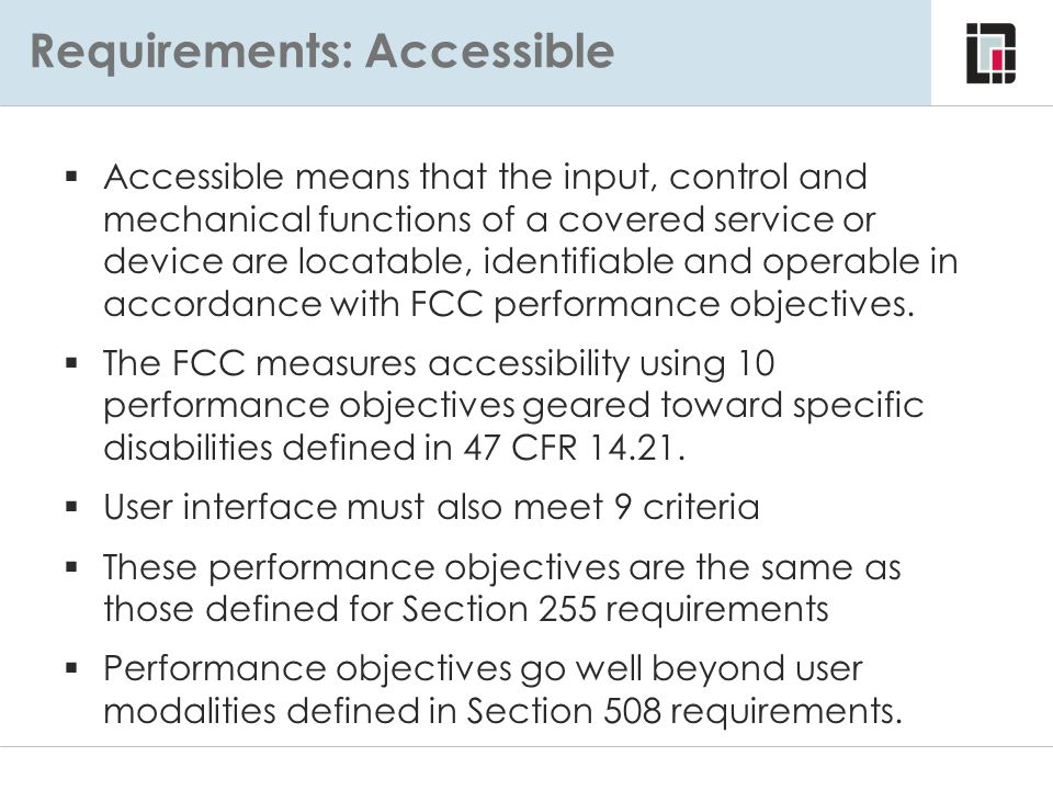 Requirements: Accessible