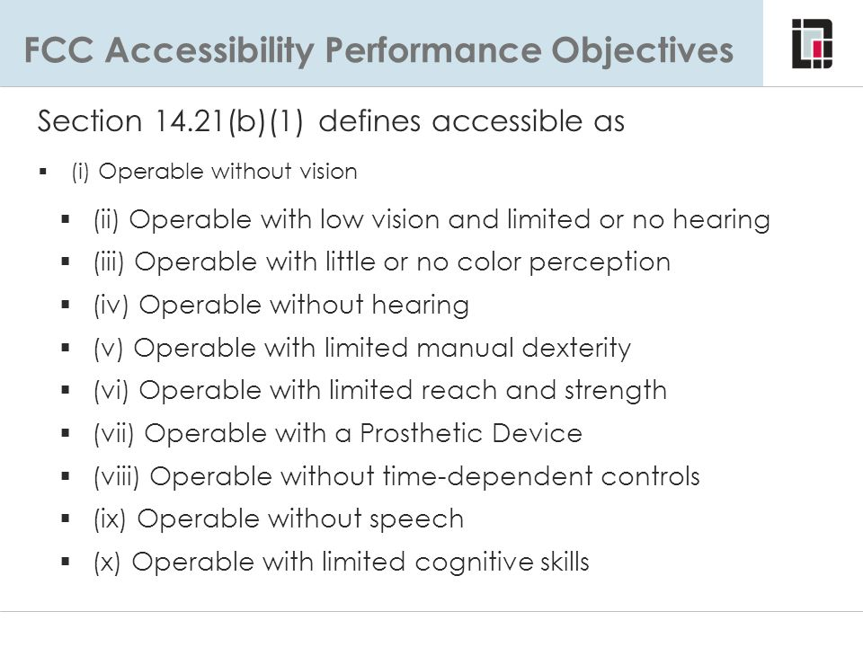 FCC Accessibility Performance Objectives
