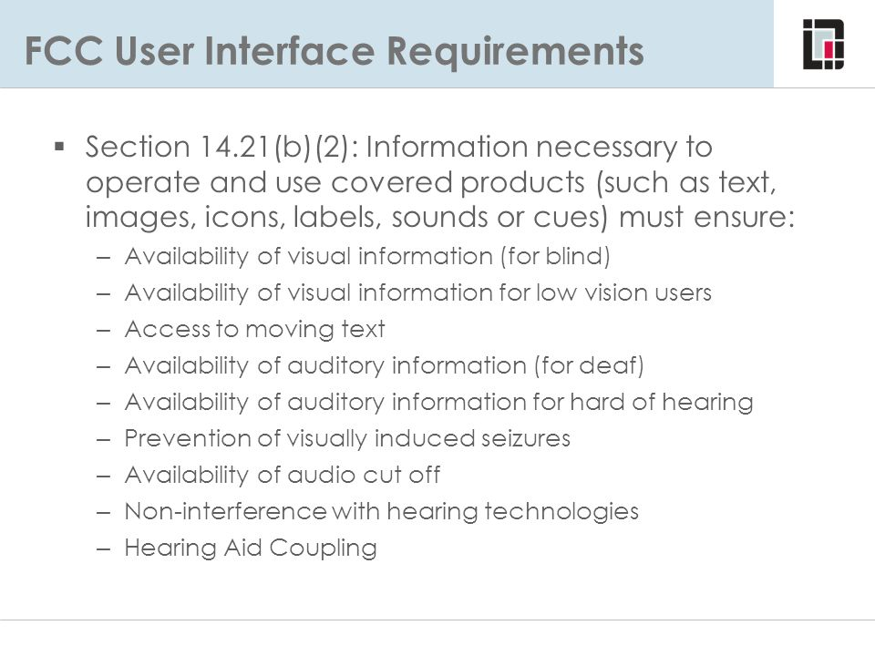 FCC User Interface Requirements