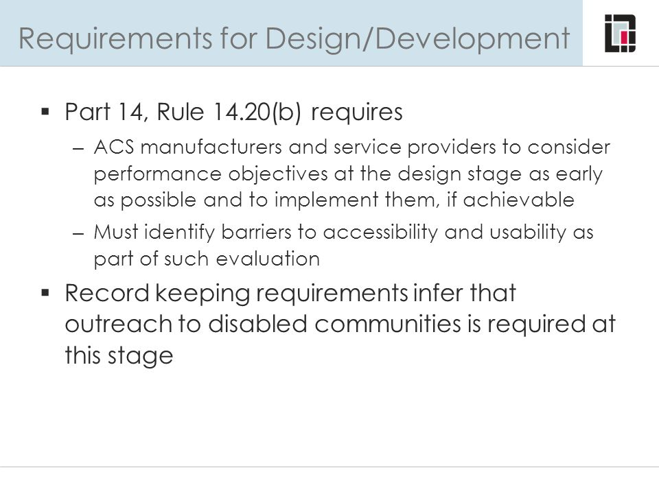 Requirements for Design/Development