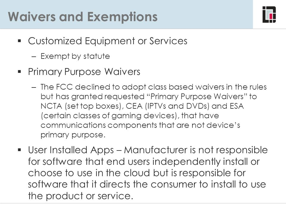 Waivers and Exemptions