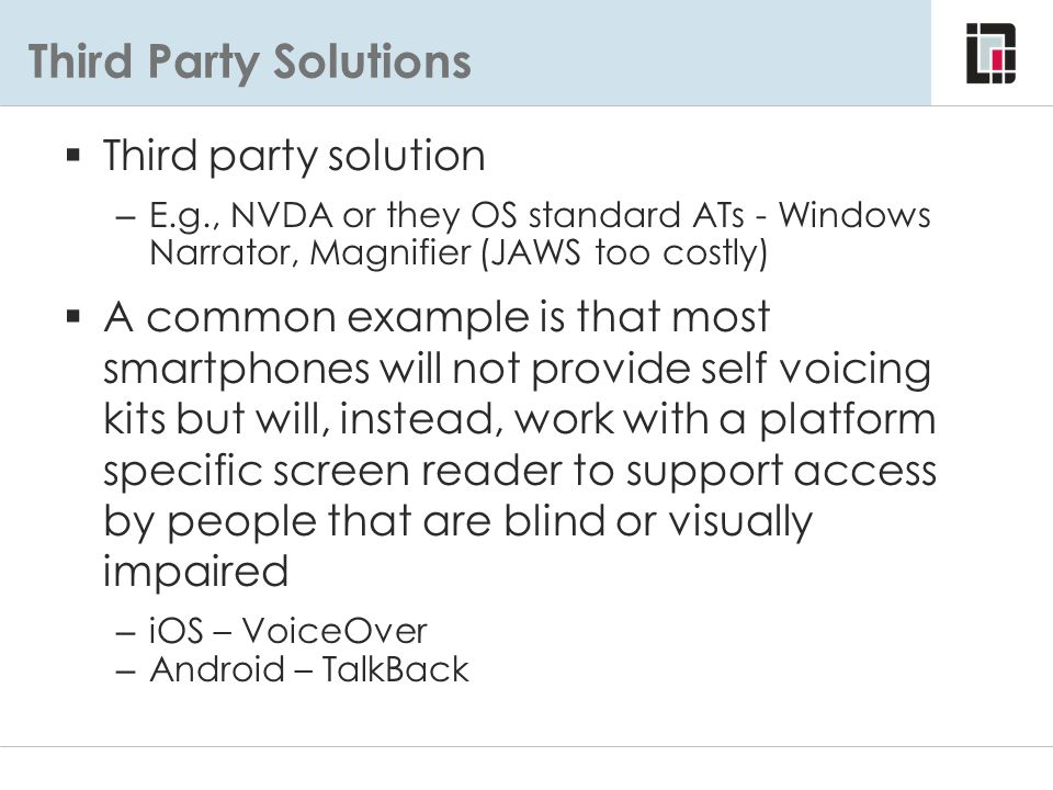 Third Party Solutions Third party solution