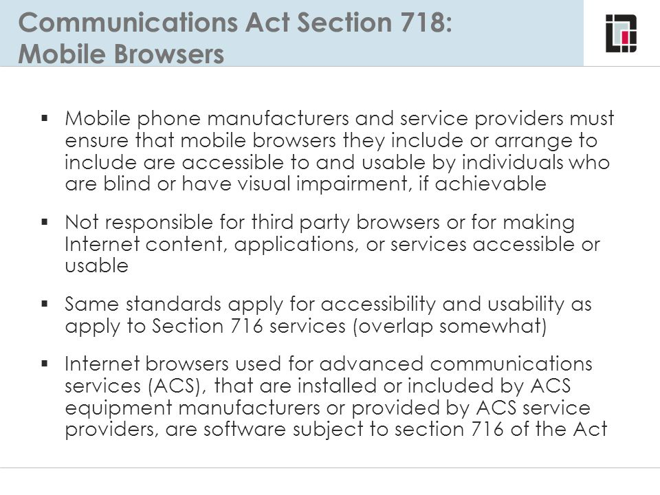 Communications Act Section 718: Mobile Browsers