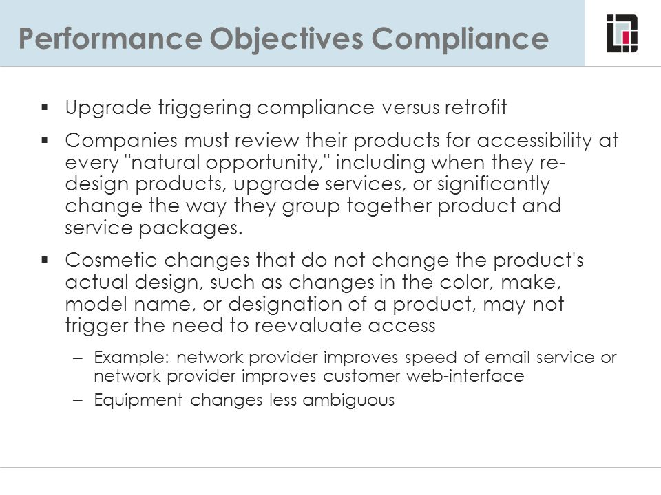 Performance Objectives Compliance