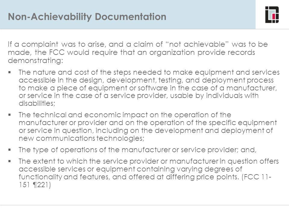 Non-Achievability Documentation