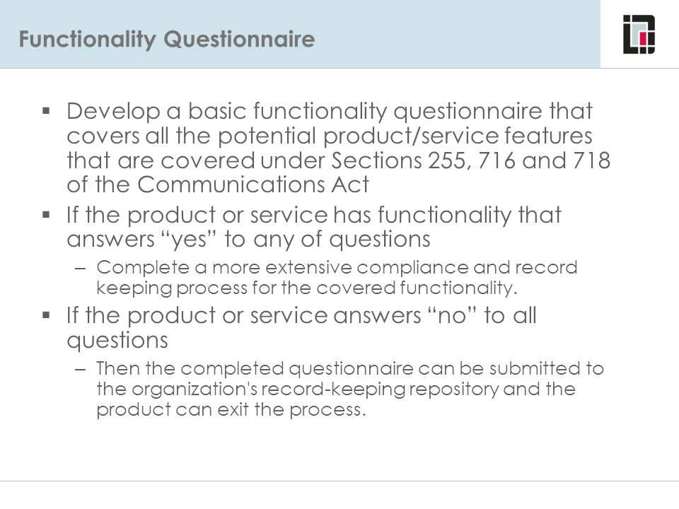 Functionality Questionnaire