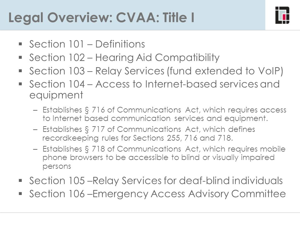 Legal Overview: CVAA: Title I