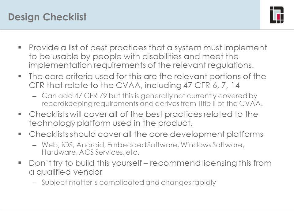 Design Checklist Design Checklist.