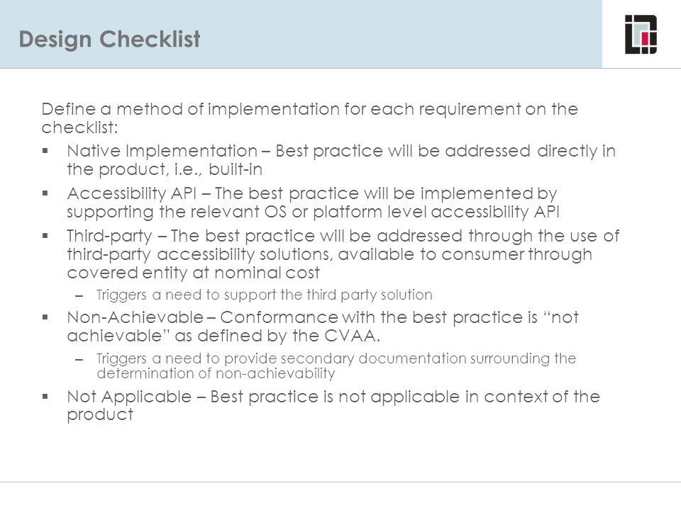 Design Checklist Design Checklist