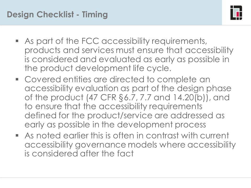 Design Checklist - Timing