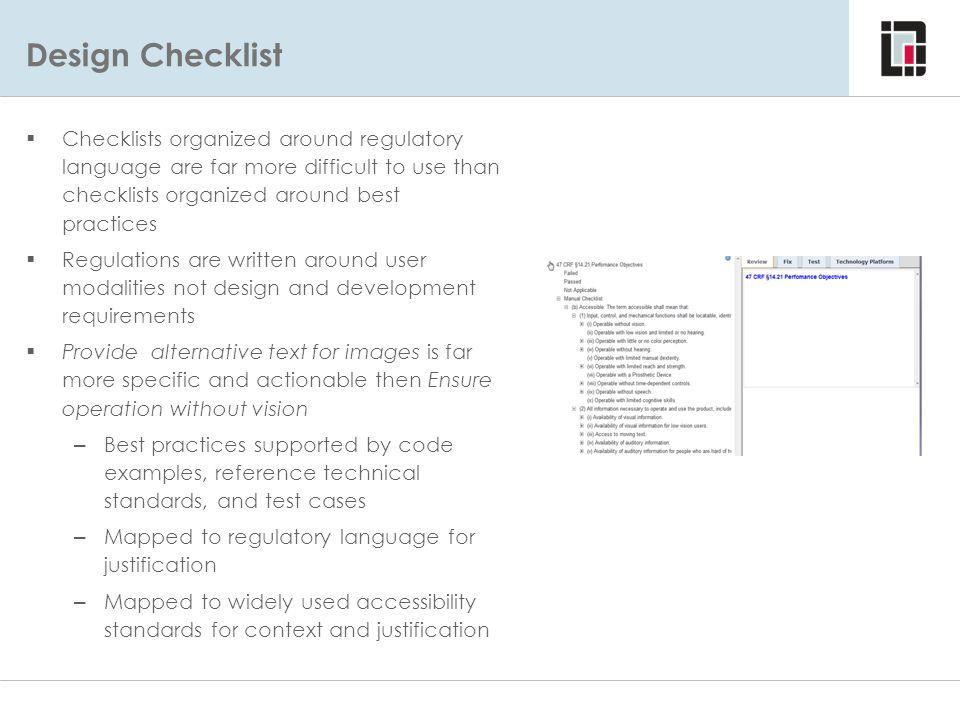 Design Checklist Considerations – Using Regulatory Language