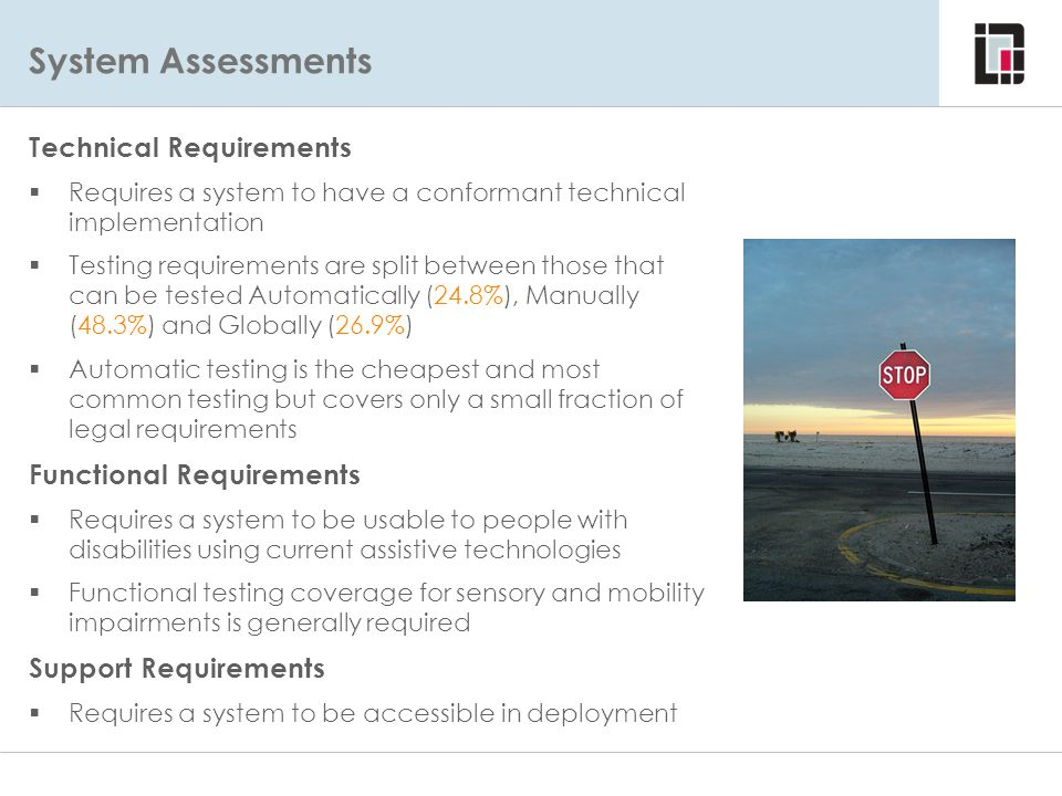 System Assessments Technical Requirements Functional Requirements