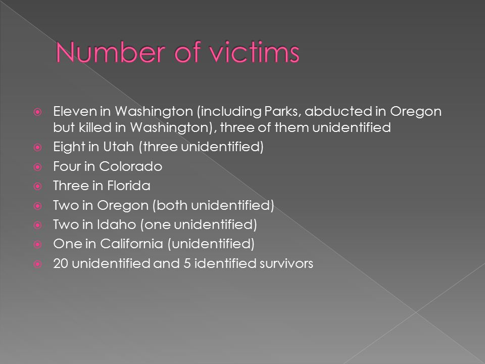 Number of victims Eleven in Washington (including Parks, abducted in Oregon but killed in Washington), three of them unidentified.