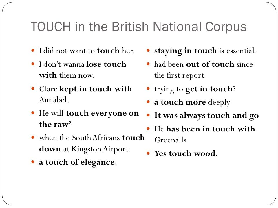 TOUCH in the British National Corpus