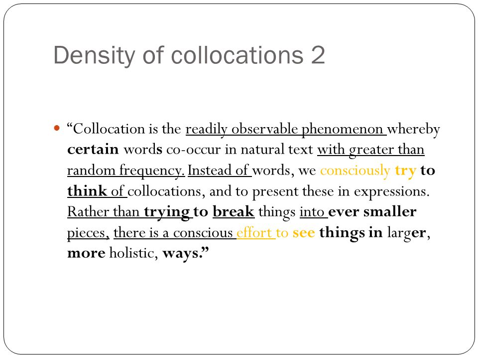 Density of collocations 2