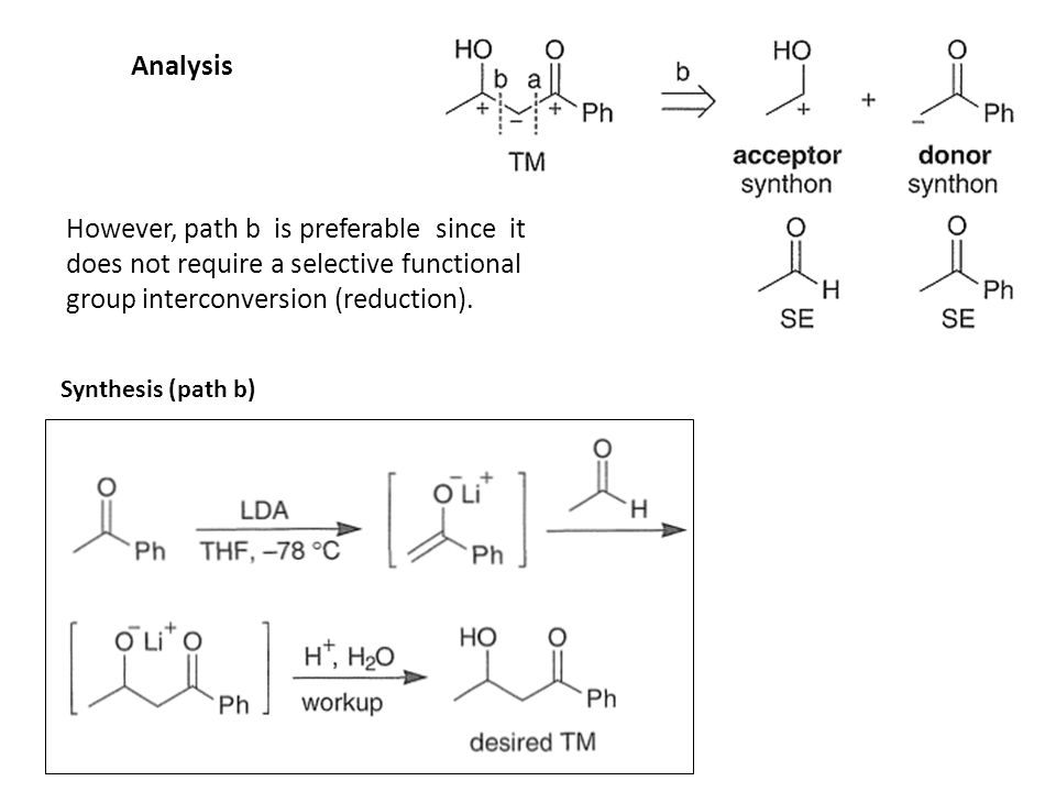 Analysis However, path b is preferable since it does not require a selective functional group interconversion (reduction).