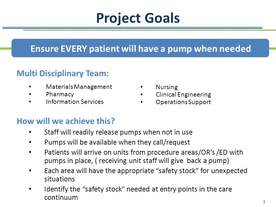 Project Goals Ensure EVERY patient will have a pump when needed