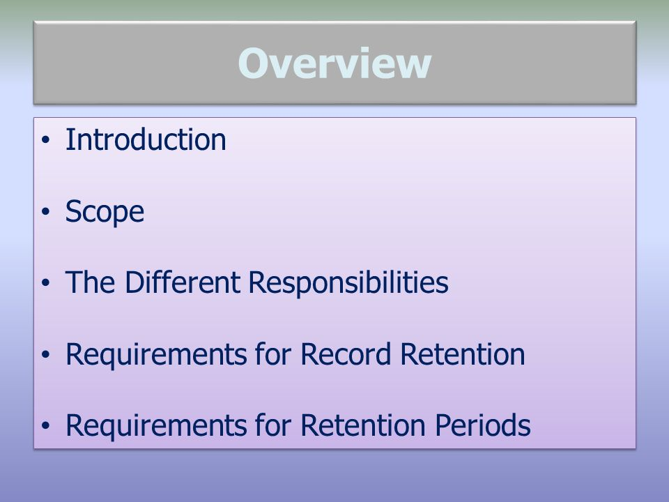 Overview Introduction Scope The Different Responsibilities