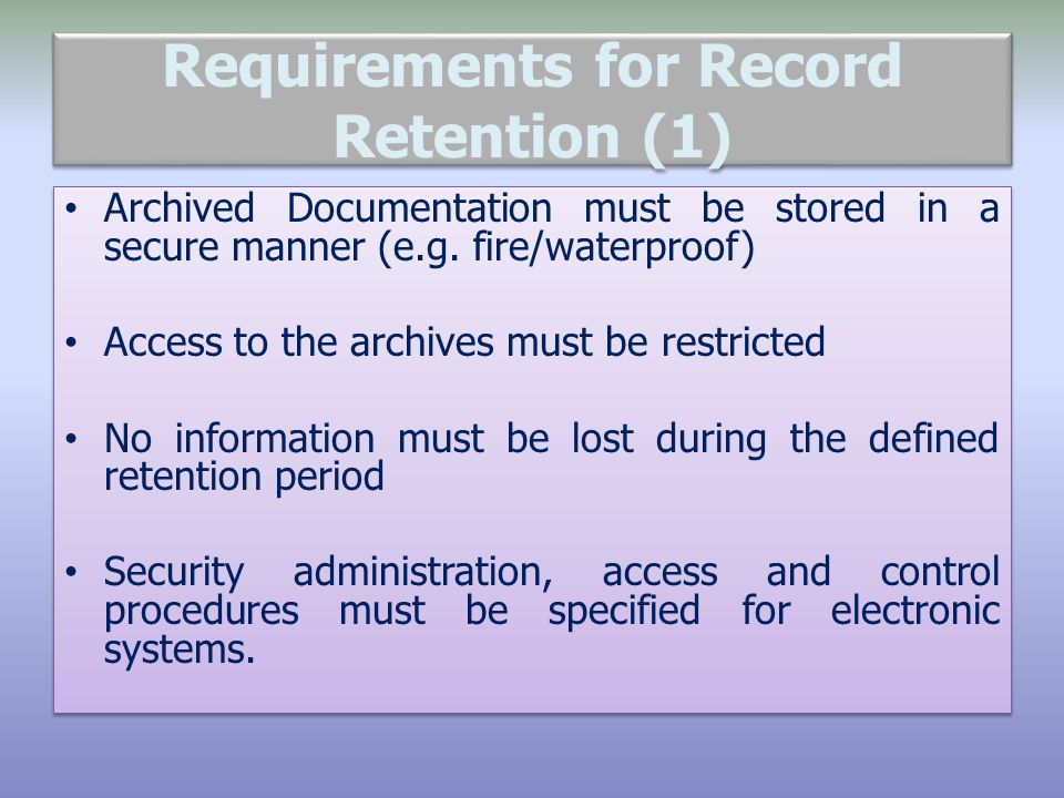Requirements for Record Retention (1)