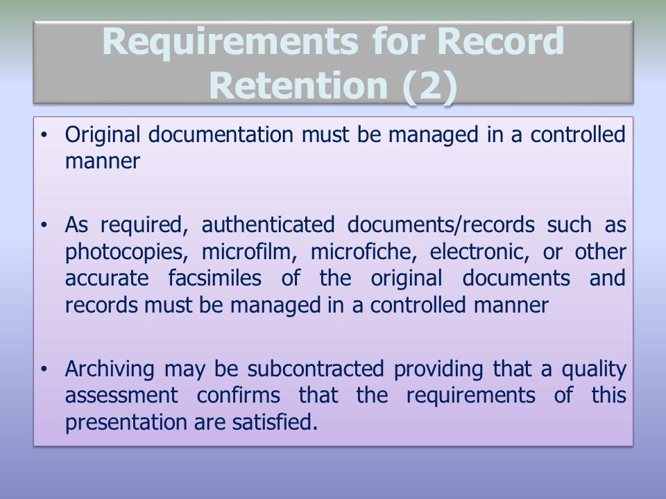 Requirements for Record Retention (2)