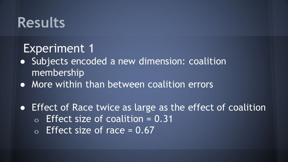 Results Experiment 1. Subjects encoded a new dimension: coalition membership. More within than between coalition errors.