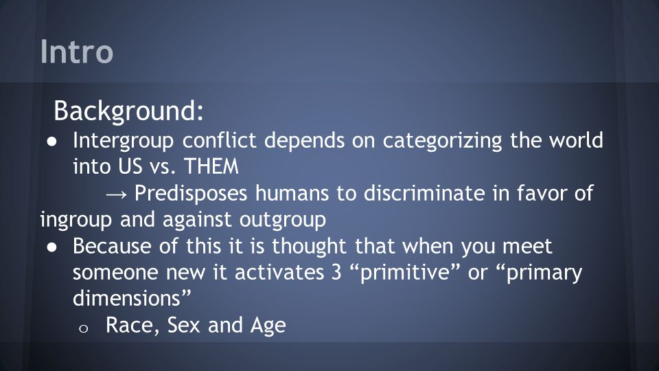 Intro Background: Intergroup conflict depends on categorizing the world into US vs. THEM.