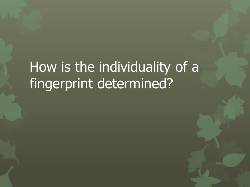 How is the individuality of a fingerprint determined