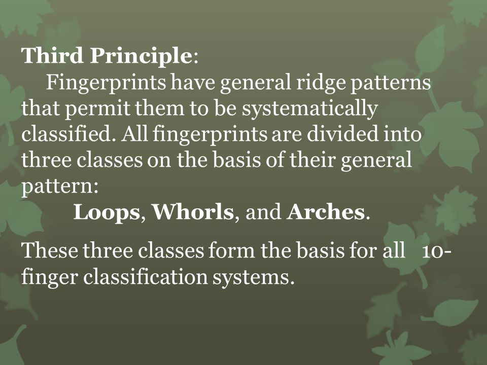 Third Principle: Fingerprints have general ridge patterns that permit them to be systematically classified.