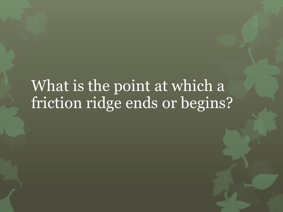 What is the point at which a friction ridge ends or begins