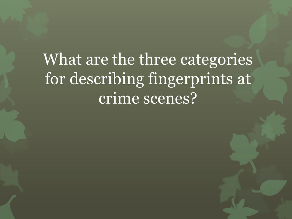 What are the three categories for describing fingerprints at crime scenes
