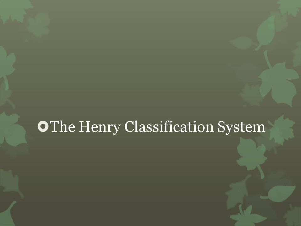 The Henry Classification System