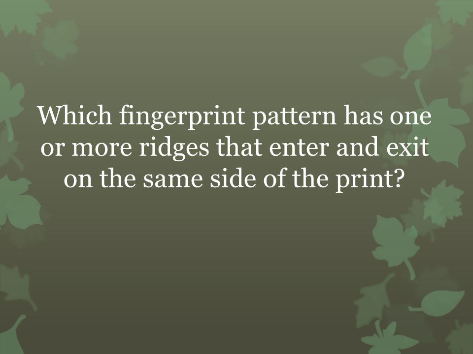 Which fingerprint pattern has one or more ridges that enter and exit on the same side of the print