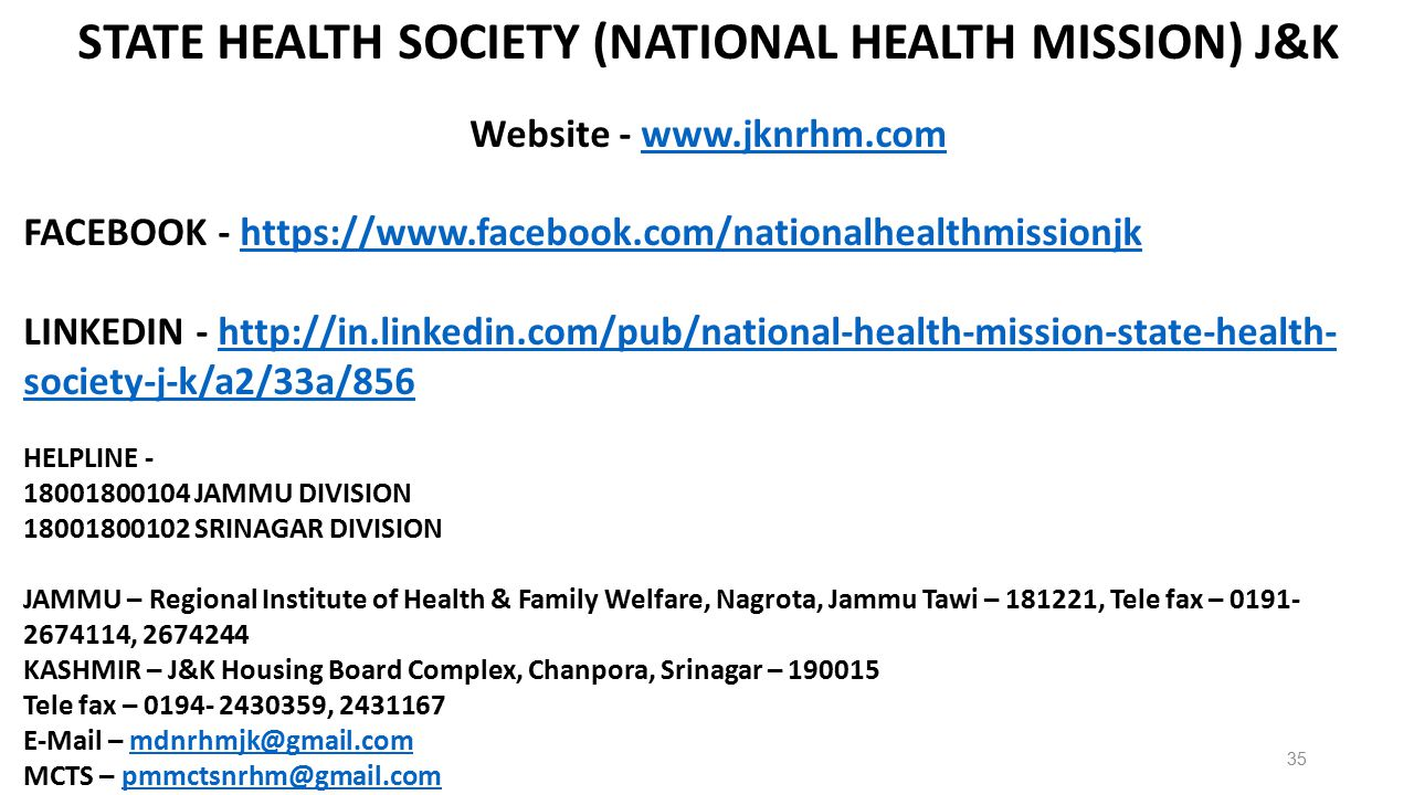 STATE HEALTH SOCIETY (NATIONAL HEALTH MISSION) J&K