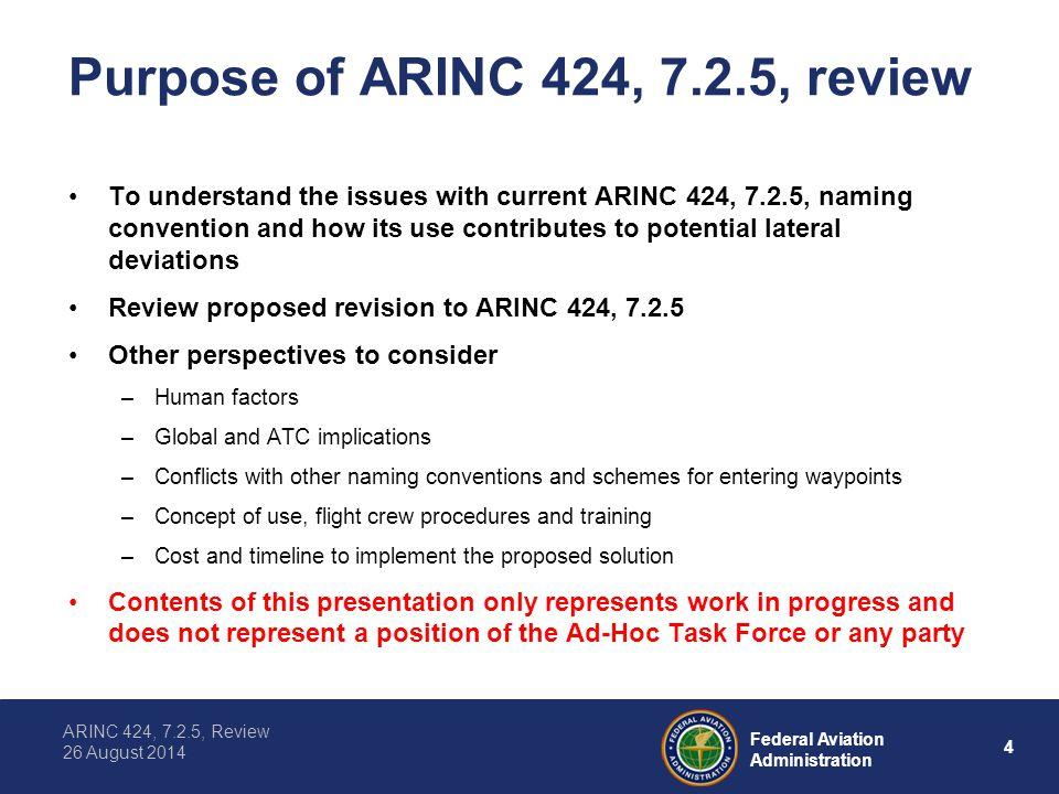 Purpose of ARINC 424, 7.2.5, review