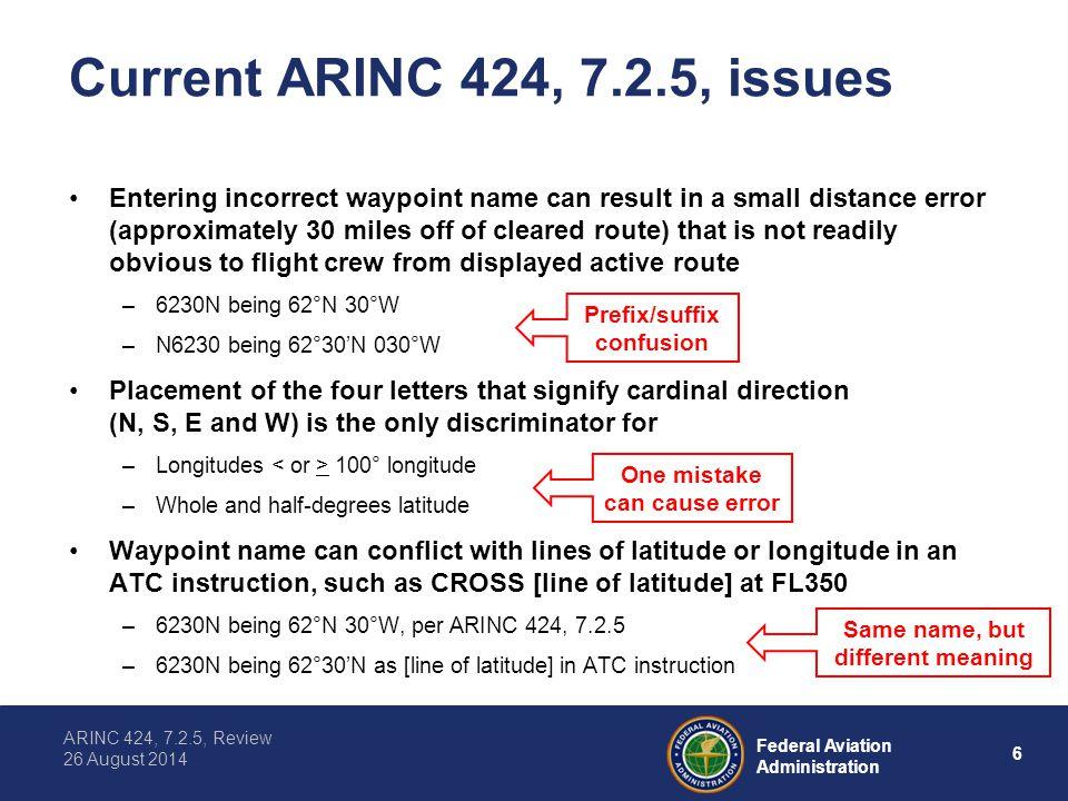 Current ARINC 424, 7.2.5, issues