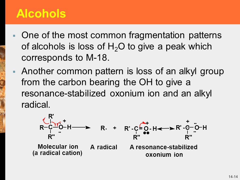 Alcohols One of the most common fragmentation patterns of alcohols is loss of H2O to give a peak which corresponds to M-18.