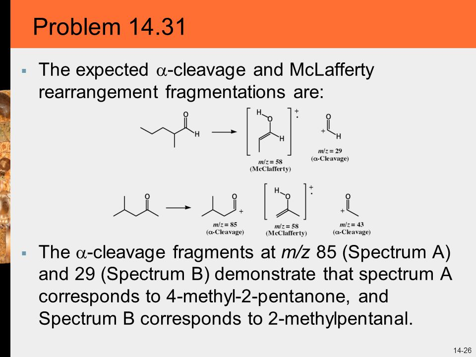 Problem 14.31 The expected -cleavage and McLafferty rearrangement fragmentations are: