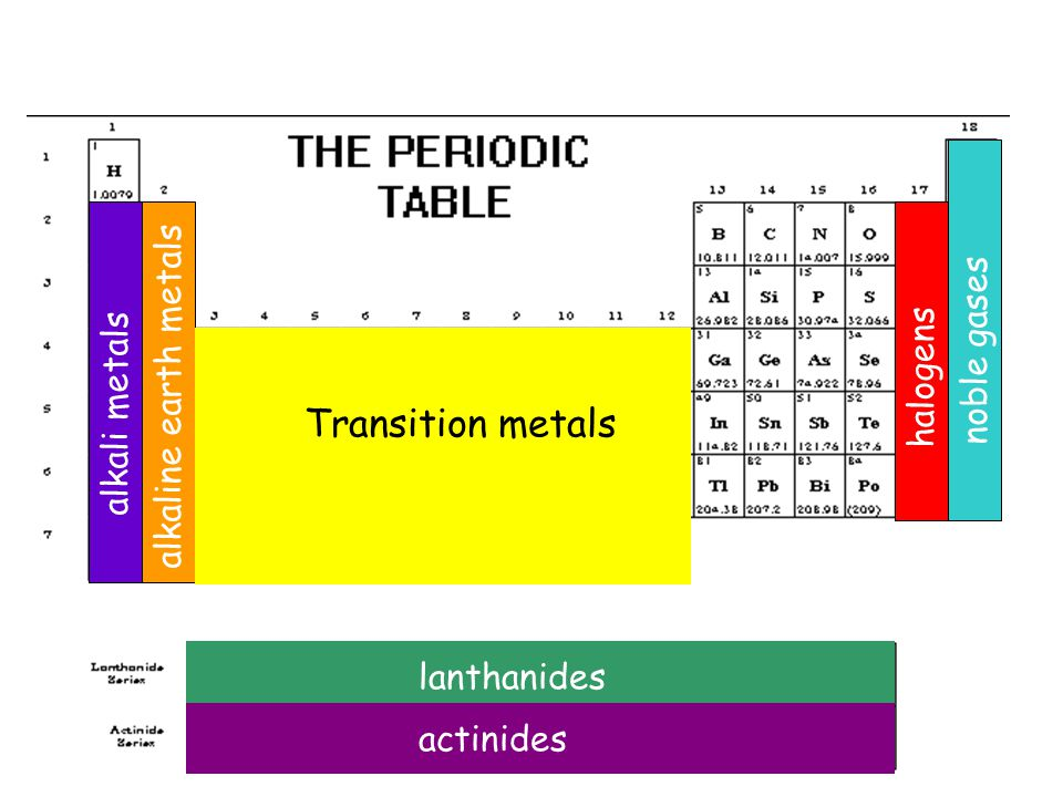 Transition metals noble gases alkaline earth metals alkali metals