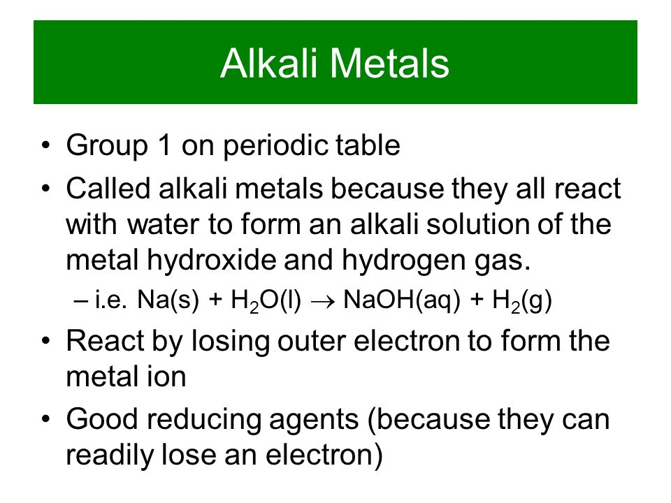 Alkali Metals Group 1 on periodic table