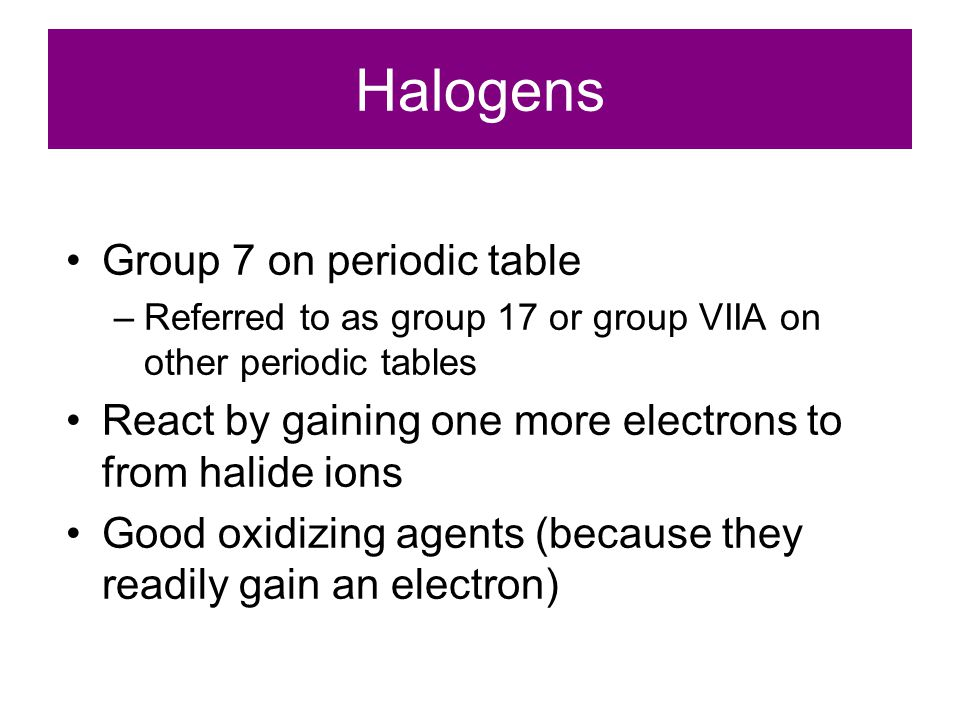 Halogens Group 7 on periodic table