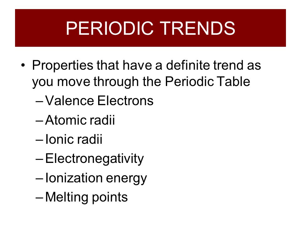 PERIODIC TRENDS Properties that have a definite trend as you move through the Periodic Table. Valence Electrons.